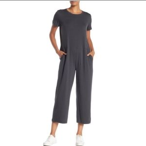 Eileen Fisher Stretch Jersey Cropped Jumpsuit Gray